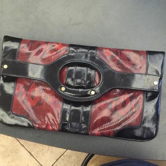 Kate Landry Handbags - Kate Landry red snakeskin clutch handbag